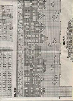Häkeln & Filethäkeln Gardine Häuser - crochet curtain - cortinas