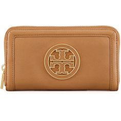 Tory Burch Amanda Continental Zip Wallet, Royal Tan ($195) ❤ liked on Polyvore featuring bags, wallets, purses, leather zip wallet, tan leather bag, beige wallet, 100 leather wallet and zip bags