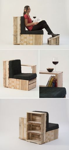 DIY Inspiration - chair bookshelf side table - would be perfect for the outdoor space