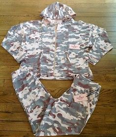 NWT-Juicy-Couture-PINK-Camo-Soft-Terry-Tracksuit-Womens-S-Hoodie-Pants-Set-NICE