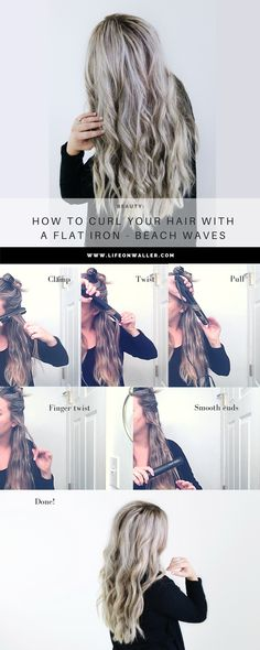 how to curl your hair with a flat iron! Make big curls or beach waves! Check out this super easy hairstyle by curling with your straightener! Hair tutorial, loose curls, loose waves. curly hair. Cute hairstyles, trending.