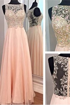 2017 New A-line High Neck Beads Bodice Blush Pink Chiffon Prom Dresses Formal Dress,See Through Long Evening Dress Prom Gowns