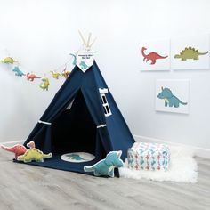 Dinosaur Themed Teepee, Kids Teepee, Custom Children Teepee, Kids Teepee Personalized, With Options Play Teepee, Teepee Kids, Teepee Tent, Teepees, Luxury Playhouses, Pop Up Play, Party And Play, Little Cottages, Wooden Poles