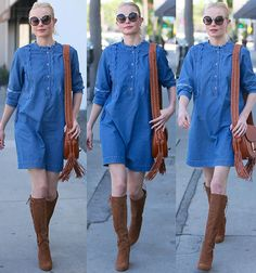 Kate Bosworth in MIH Jeans chambray dress
