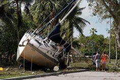 Wrecked boats that have come ashore are pictured in Coconut Grove following Hurricane Irma in Miami, Florida. REUTERS/Carlo Allegri