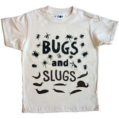 Bugs and Slugs organic natural tee from Pop Kids