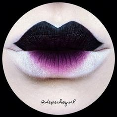 Dramatic Black Lips White and Purple Accent