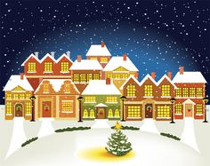 Starry Christmas House Background - http://www.welovesolo.com/starry-christmas-house-background/