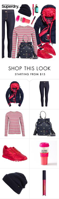 """""""The Cover Up – Jackets by Superdry: Contest Entry"""" by nastenkakot ❤ liked on Polyvore featuring Tommy Hilfiger, Reebok, Superdry, Kate Spade, Echo and Lipstick Queen"""