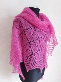 Raspberry Pink Lace Shawl Mohair Wrap Wedding Shawl Luxury | Etsy