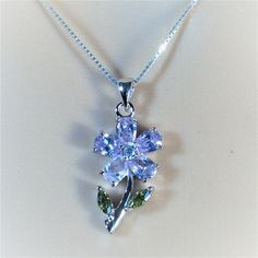"""Sterling Silver Clear CZ, Peridot and Lavender Flower Pendant Necklace, 18"""""""