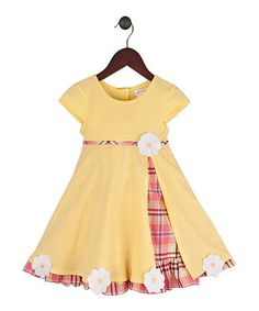 Another great find on #zulily! Yellow & Pink Plaid Gumdrop Dress - Infant, Toddler & Girls by Gidget Loves Milo #zulilyfinds