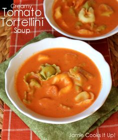 Creamy Tomato and Tortellini Soup from Jamie Cooks It Up! #souprecipes, #tomatosoup, #jamiecooksitup