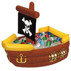 {Jake and the Neverland Pirates Birthday Party} Inflatable pirate ship cooler