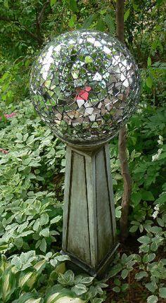 Close up image of 10 Gazing Balls - Mirrored Mosaic Garden Globe
