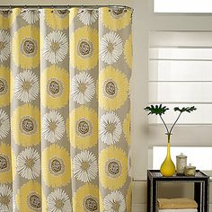 Bloom shower curtain will refresh your bathroom decor. The fresh pattern complements your bathroom with restful tones of taupe ground and yellow.