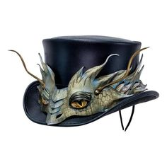 Leather Top Hat - El Dorado Basilisk Dragon Band - Steampunk Hatter – Head'n Home Fancy Hats, Cool Hats, Leather Top Hat, Pith Helmet, Steampunk Top Hat, Hats For Sale, Hats Online, Types Of Fashion Styles, Diys