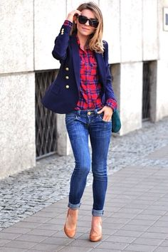 Casual outfit..navy blazer, jeans, plaid shirt