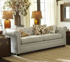 Chesterfield Upholstered Sofa #potterybarn comes in white to be dyed salmon, peach, Kelly green washed linen/cotton