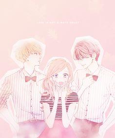hirunaka no ryuusei and manga image Anime Love Triangle, Triangle Drawing, Triangle Art, Manga Couple, Anime Love Couple, Cute Anime Couples, Anime Guys, Manga Anime, Anime Art