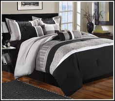 Black Grey And White Comforter Sets