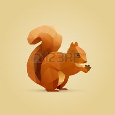 polygonal illustration of squirrel eating nut isolated Stock Vector