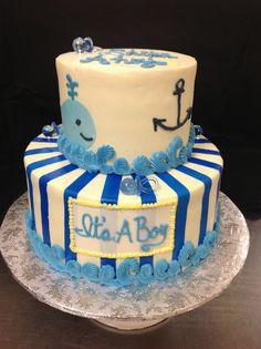 Nautical Baby Shower Cakes   Nautical Blue Baby Boy 2 Tier Cake Shower Cake