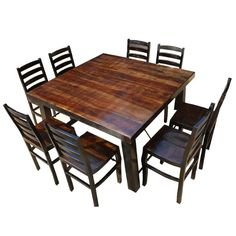 Rustic Counter Height Kansas City Square Dining Set For 8 People – Farmhouse table diy Square Dining Room Table, Bar Height Dining Table, Living Room Table Sets, Dining Table Dimensions, Formal Dining Tables, Square Tables, Dining Table Chairs, Dining Sets, 8 Person Dining Table