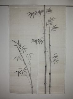 Japanese New beautiful hemp curtain noren textile of Pattern of bamboo #2