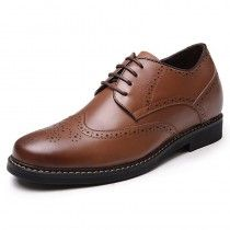 Brown height increasing wing tip dress shoes 6cm / 2.36inch brogue wedding shoes