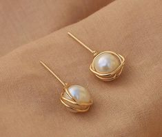 Gold pearl stud earrings - 14 k gold filled earrings - White freshwater pearl bridesmaids gift - june birthstone - gift for her - Best Picture For jewelry rings For Your Taste You are looking for something, and it is going to t - Pearl Stud Earrings, Pearl Studs, Pearl Jewelry, Crystal Jewelry, Wire Jewelry, Jewelry Shop, Women's Earrings, Gold Jewelry, Jewelry Accessories