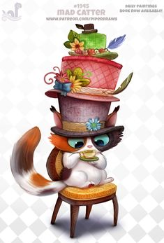 ArtStation - Daily Paint Mad Catter, Piper Thibodeau Don't Come Around Here No Meow Cute Animal Drawings, Kawaii Drawings, Cute Drawings, Cute Fantasy Creatures, Cute Creatures, Chibi, Animal Puns, Animal Food, Kawaii Doodles