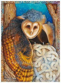 The Celtic Owl  His Winged Majesty by HollySierraArt on Etsy, $30.00