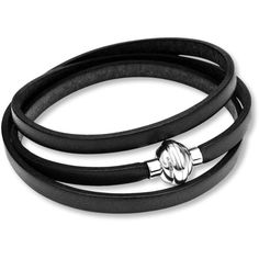 Black Leather Bracelet Stainless Steel (£34) ❤ liked on Polyvore featuring jewelry, bracelets, stainless steel jewellery, leather bangles, magnet jewelry, stainless steel jewelry and wrap jewelry