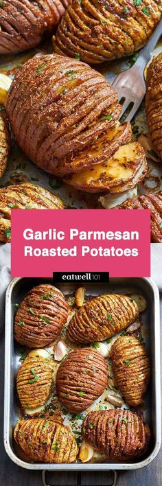 Try these Garlic Parmesan Butter Roasted Potatoes if you're looking for a striking side dish that will impress your guests. Crispy on the outside and tender on the inside, they are very easy to mak… Garlic Parmesan Butter Roasted Potatoes Kira Enge Side Dish Recipes, Vegetable Recipes, Vegetarian Recipes, Dinner Recipes, Cooking Recipes, Healthy Recipes, Pasta Recipes, Cooking Tips, Healthy Food