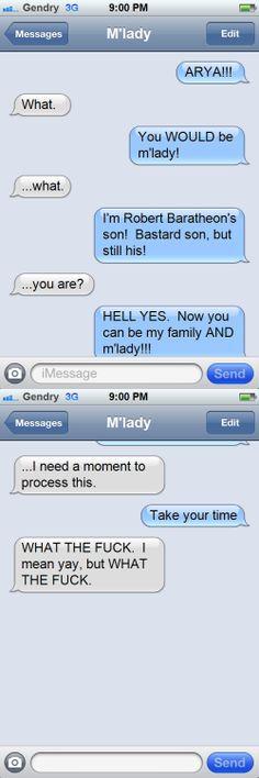 Gendry + Arya LOL