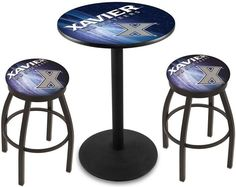 Xavier Musketeers D2 Black Pub Table Set. Available in two table widths. Visit SportsFansPlus.com for Details.