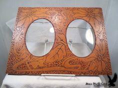 Antique Pyrograph Double Frame Wall Hanging Wood Burning Flemish Art #ArtNouveau