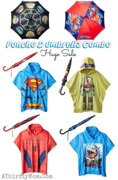 Poncho umbrella combo.teenage ninja Turtles, spiderman, superman, avengers makes a great gift idea for kids and useful too