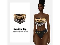 The Sims 4 Bandana Top  by eansims Sims 4 Teen, Sims 4 Toddler, Sims Four, Sims Cc, Sims 4 Mods Clothes, Sims 4 Clothing, Maxis, Sims 4 Game Mods, Sims Games