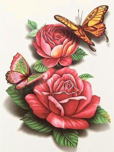 butterflies and roses Butterfly Wallpaper, Butterfly Art, Flower Art, Butterflies, Decoupage Vintage, Decoupage Paper, Rose Tattoos, Flower Tattoos, Papercut Art