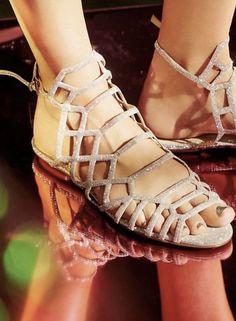 9f35cf226 New  160.00 FREE PEOPLE SCHUTZ Leather   Glitter Pretty Gladiator Sandals   fashion  clothing