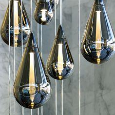 Fluid smoked glass pendant | Lighting