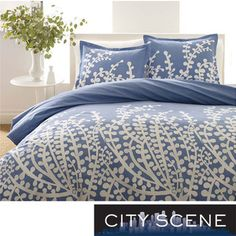 City Scene Branches French Blue 3-piece Comforter Set | Overstock.com Shopping - The Best Deals on Comforter Sets