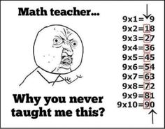 Multiplication This is awesome! My mom taught me this growing up and I am now teaching my daughter it. My own math teacher at the time didn't even realize it until I showed her one day what Mom had shown me. :-) Make math easier for your kiddos! Math Teacher, Teaching Math, Math Tutor, Math Class, Teacher Quotes, Math Quotes, Teacher Funnies, Kids Learning, Just In Case