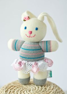 Baby Bunny knitted toy - stuff animal baby toy. OMG I think I just started planning for her Easter basket :) Love this!