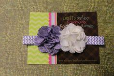 purple burlap chevron flower headband by CraftyAshBowsnMore, $6.00