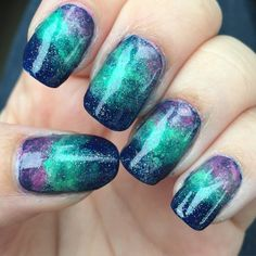 Colour inspiration/sponging inspiration for Northern Lights manicure; for Calgary Maker Challenge.