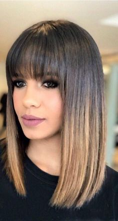 Coole Haare Hairstyles with bangs Wedding Dress Trends - Top Wedding Dress Styles for the Modern Bri Medium Hair Styles, Curly Hair Styles, Long Bob With Bangs, Medium Length Hair With Bangs, Medium Curly, Straight Across Bangs, Hair Medium, Ombre Bob With Bangs, Long Bob With Fringe