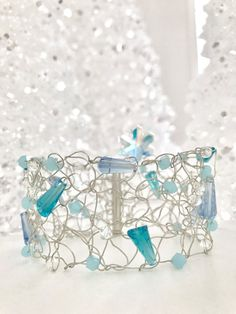 Ready To Ship Knitted Bracelet Snowflake Bracelet by CatDKnits